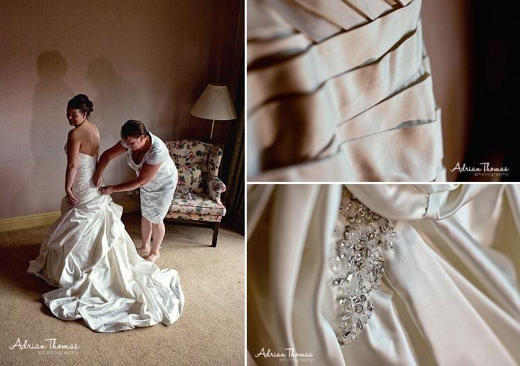 Mother helps bride get dressed