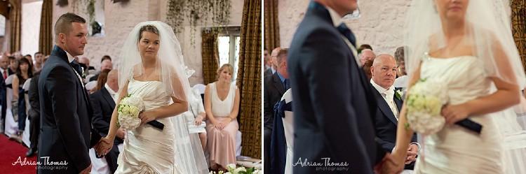 Wedding ceremony in Minstrel Hall at Miskin Manor Hotel