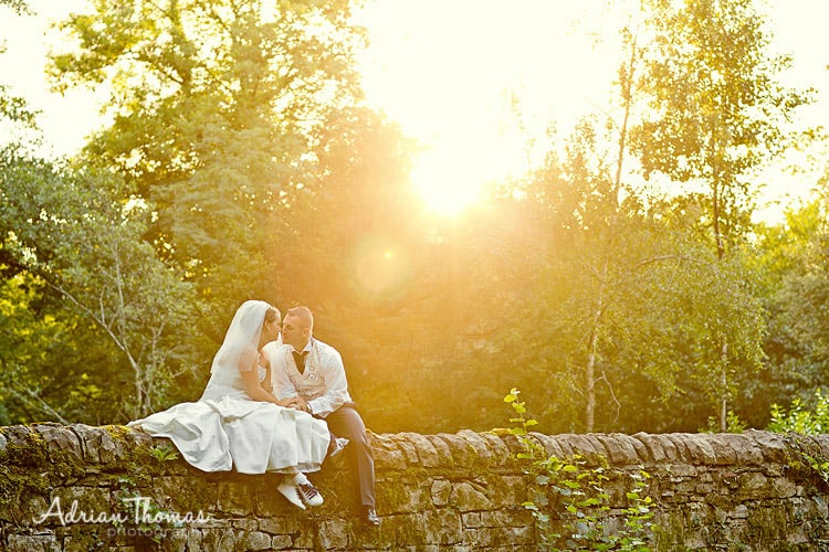 Photograph at Miskin Manor Hotel of wedding bride and groom