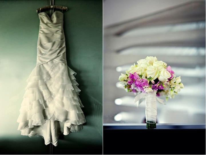 Brides dress and bouquet