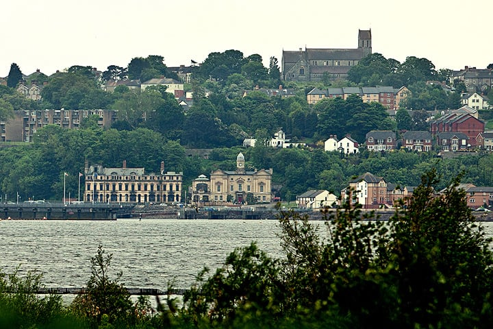St Augustine's Church in Penarth shot from Cardiff Bay