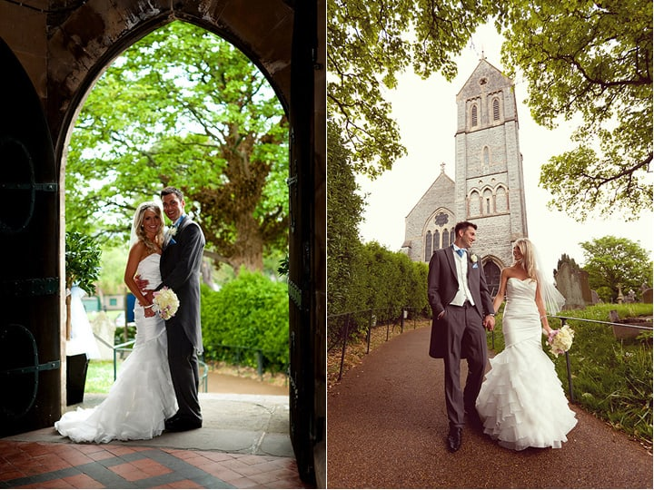 Photograph of bride and groom at St Augustines Church wedding