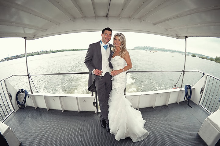 Photograph of Bride and Groom on Cardiff Bay Boat Trip