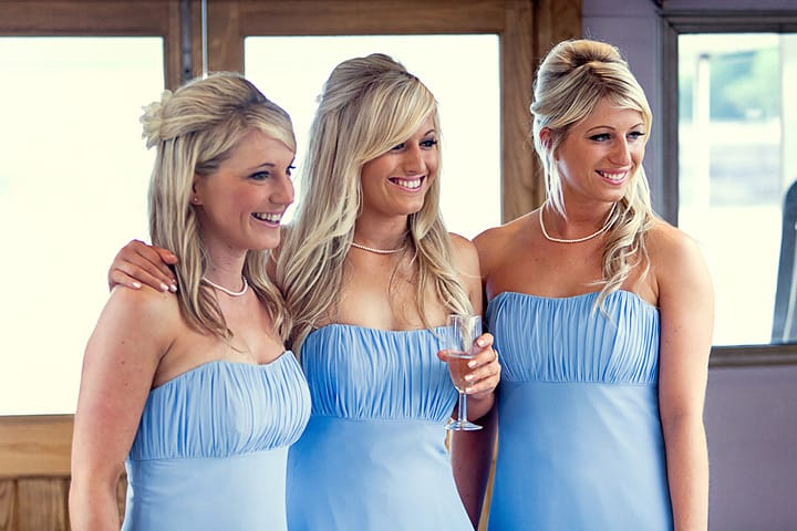 Bridesmaids on boat trip