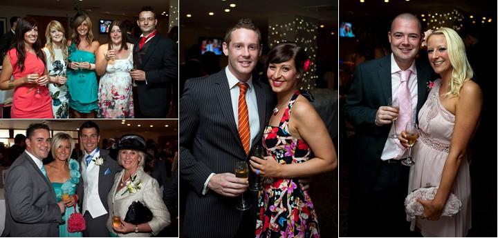 Guests mingle at wedding