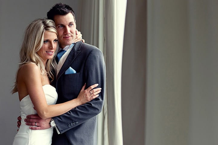 Portrait image of bride and groom at St Davids Hotel