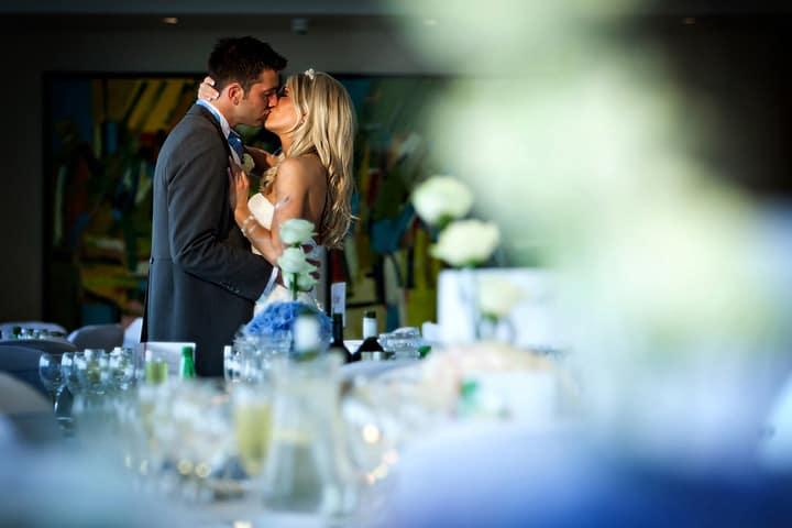 bride and groom in wedding reception room