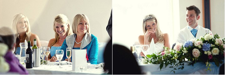 Giggling bride during speeches