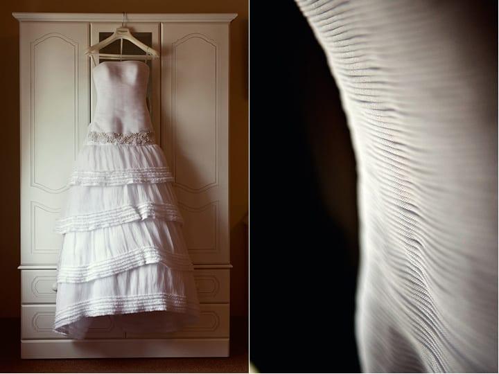 Dress hanging up during bridal preparations.