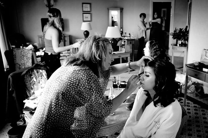 Make up artist with bridesmaids