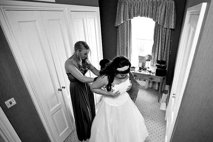 Bride gets dressed