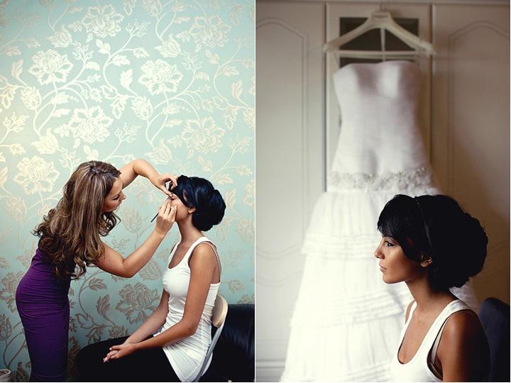 MUA preparing bride