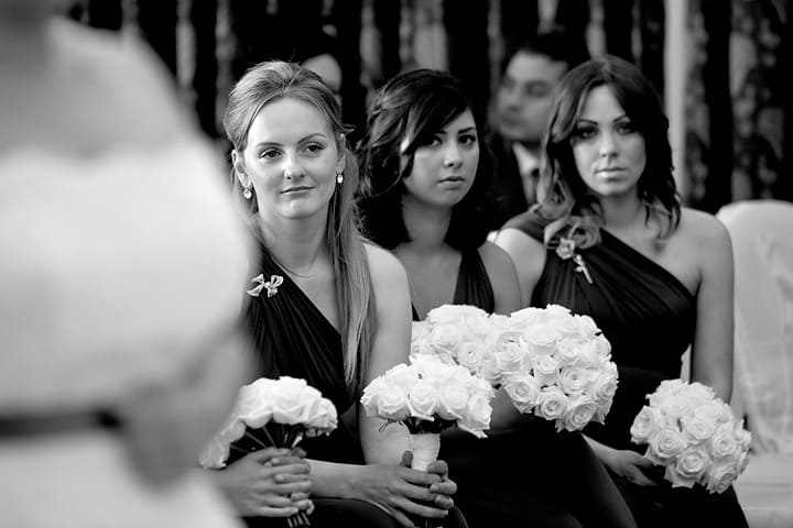 Bridal party watch ceremony
