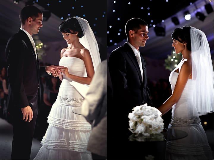 Exchange of rings at Heaton House Farm wedding