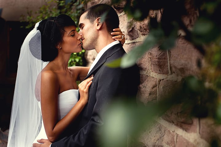 Loved up couple at their wedding