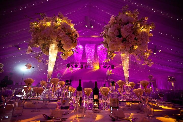Wedding tables at Heaton House Farm wedding reception