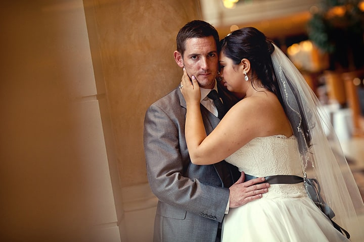 Photograph of bride and groom at Celtic Manor wedding
