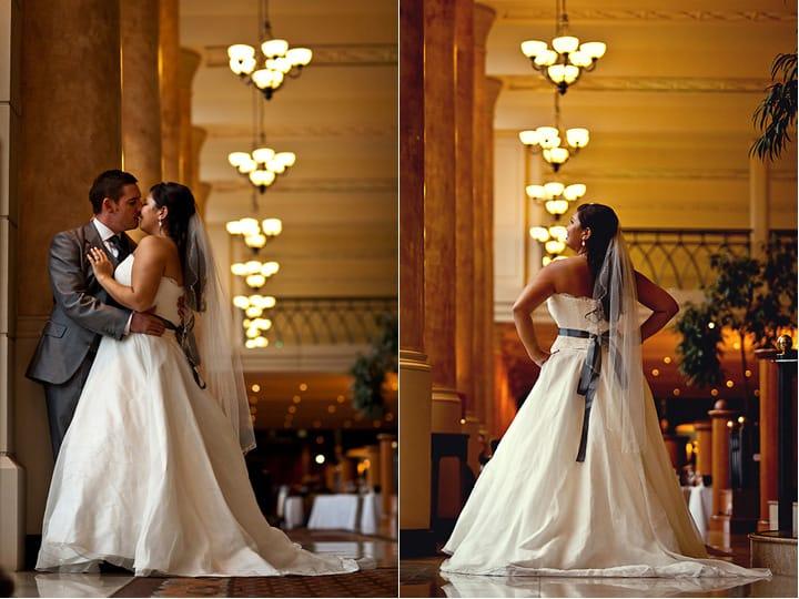 Photographs of wedding dress at Celtic Manor