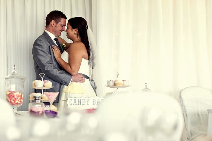 Bride and groom at Marquee