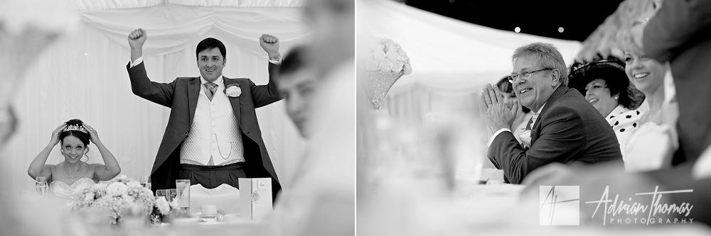 Groom talking during speeches