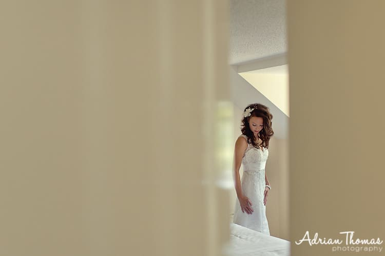 Image of Bride before her wedding at Llanerch Vineyard