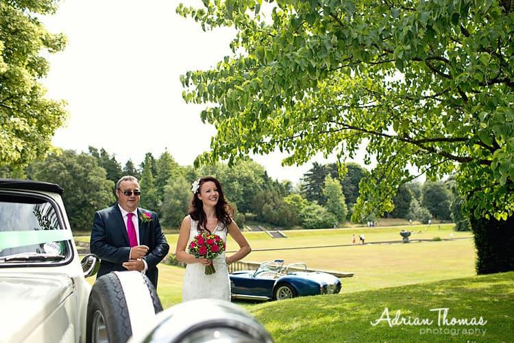 Bride arrives at Dyffryn Gardens
