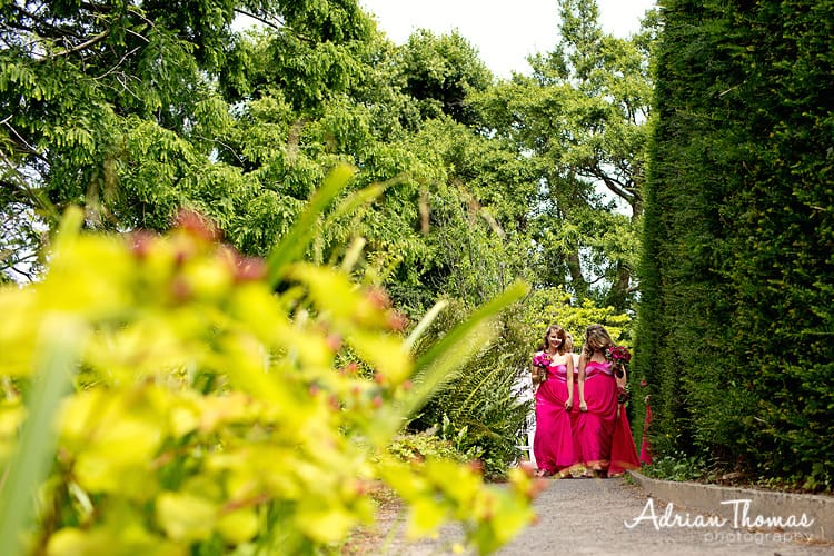 Brides walk to ceremony through gardens at Dyffryn
