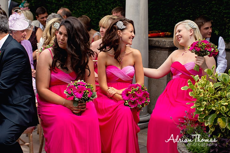 Happy bridesmaids during wedding