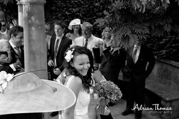 Giggly bride at Dyffryn