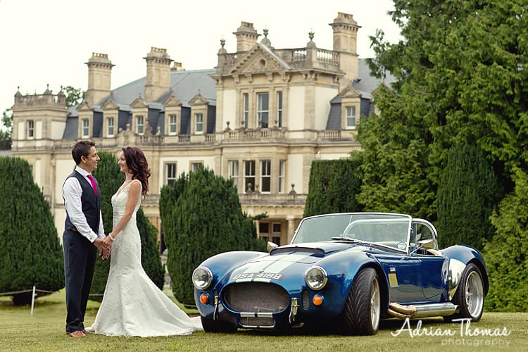 Photograph of car, bride & groom's during wedding at dyffryn gardens