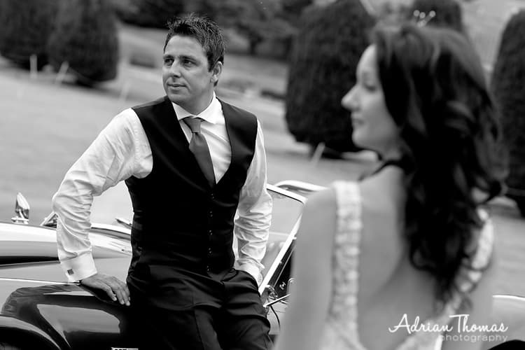 groom with car and bride