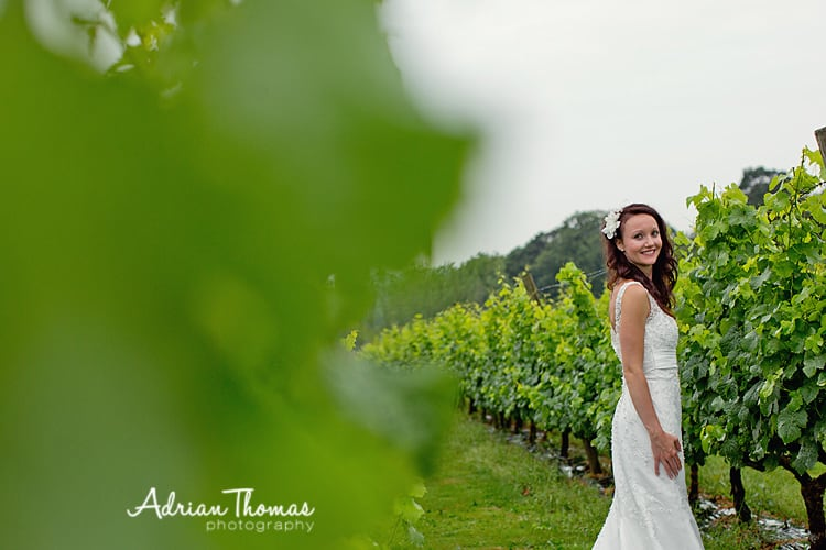 Photograph of wedding bride at llanerch vineyard in rain