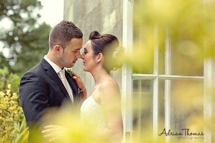 Photograph of wedding couple at Margam Orangery