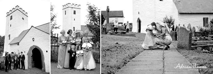 Bridesmaids arrive at church