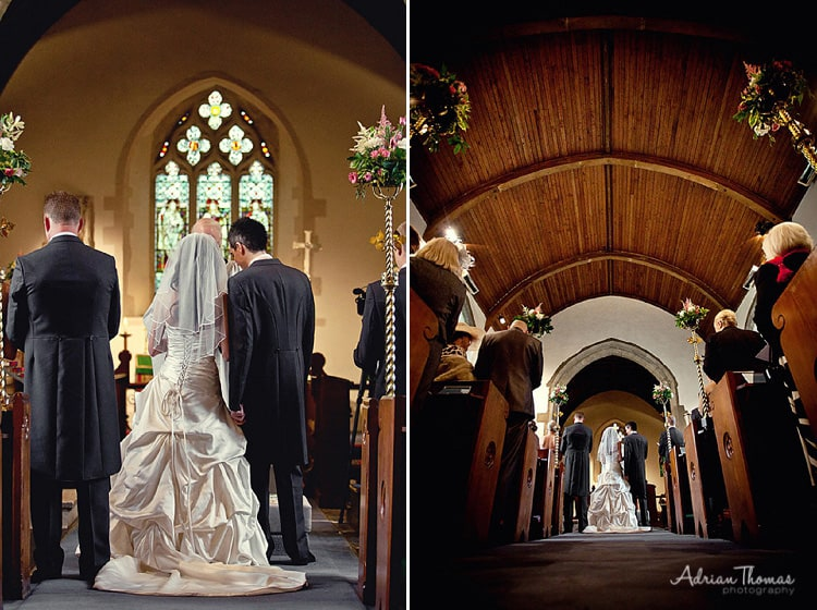 Photograph of bride and groom at St Edeyrns Church