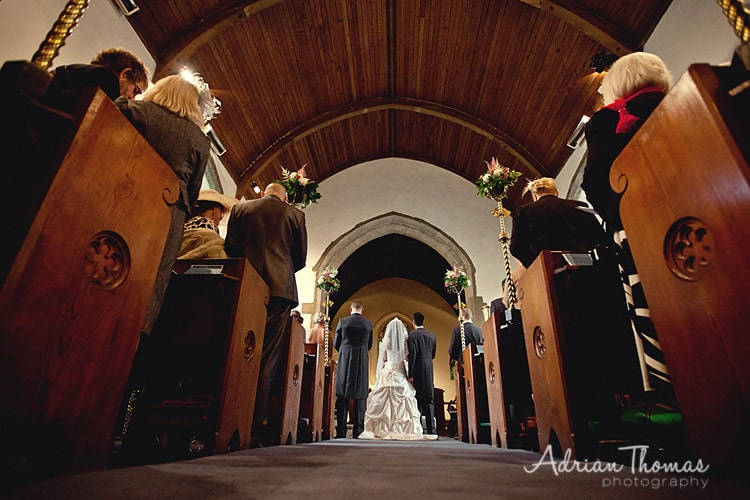 St Edeyrns Church ailse photograph during wedding