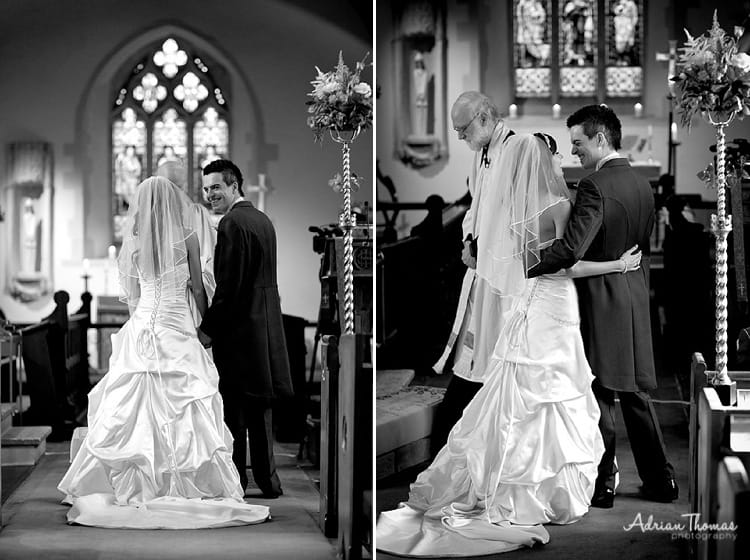 image of bride and groom St Edeyrns Church wedding