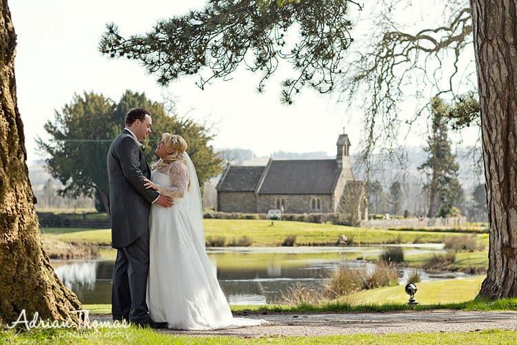 Bride & groom and St Bridgets Church