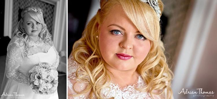 Bride before her wedding at Llansantffraed Court Hotel