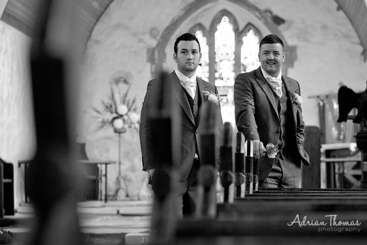 Waiting for bride to arrive at Eglwysilan Church