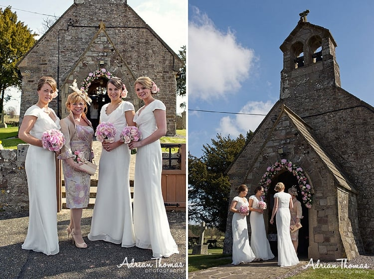 St Bridget's Church and bridesmaids
