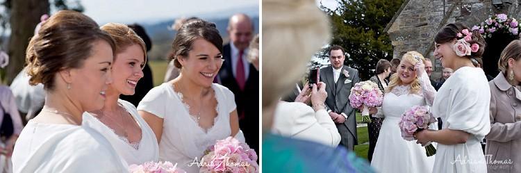 Bride mingling at wedding