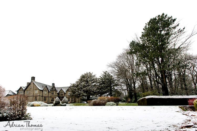 Image of snowy grounds during wedding at Maes Manor Hotel