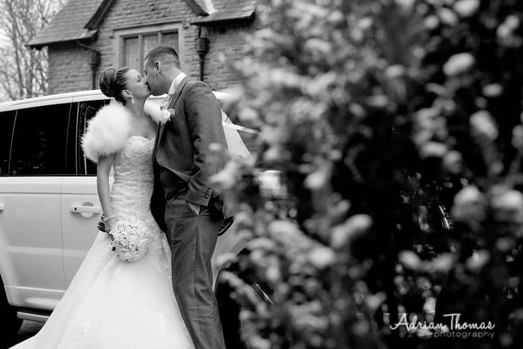 Couple kiss at Maes Manor Hotel