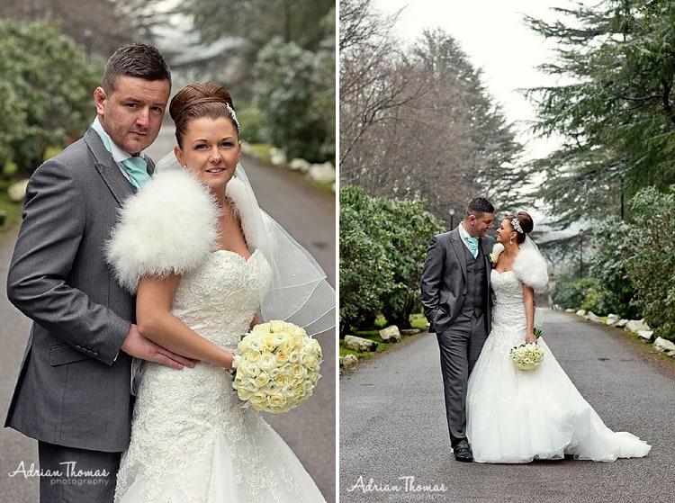 Bride and groom Maes Manor winter wedding