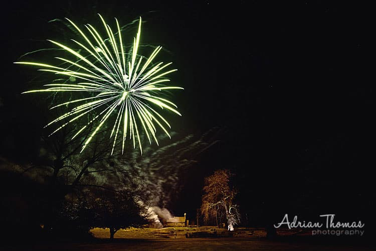 Photograph of fireworks over St Bridgets Church from Llansantffraed Court Hotel Wedding