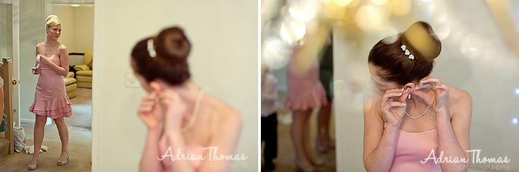Bridesmaids appolying earing