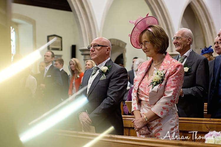 Bride's parents during ceremony