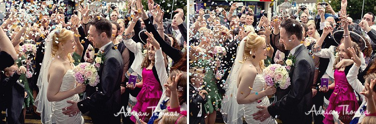 Confetti throwing at the church