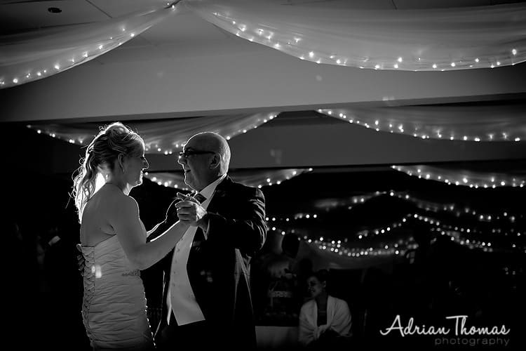 Bride has a dance with her dad at New House Country Hotel in Cardiff